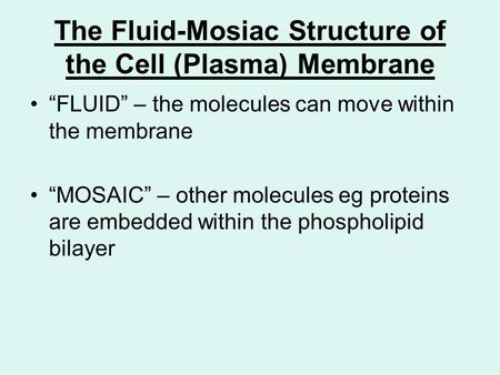 "The Fluid-Mosiac Structure of the Cell (Plasma) Membrane ""FLUID"" – the molecules can move within the membrane ""MOSAIC"" – other molecules eg proteins are."