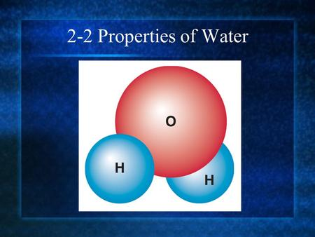 2-2 Properties of Water. The Water Molecule Like all molecules, a water molecule is neutral.