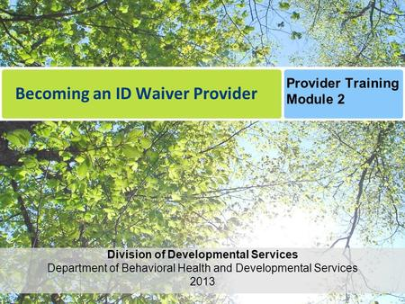 Becoming an ID Waiver Provider Division of Developmental Services Department of Behavioral Health and Developmental Services 2013 Provider Training Module.