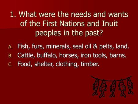 1. What were the needs and wants of the First Nations and Inuit peoples in the past? A. Fish, furs, minerals, seal oil & pelts, land. B. Cattle, buffalo,