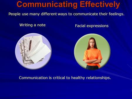 People use many different ways to communicate their feelings. Writing a note Facial expressions Communication is critical to healthy relationships. Communicating.