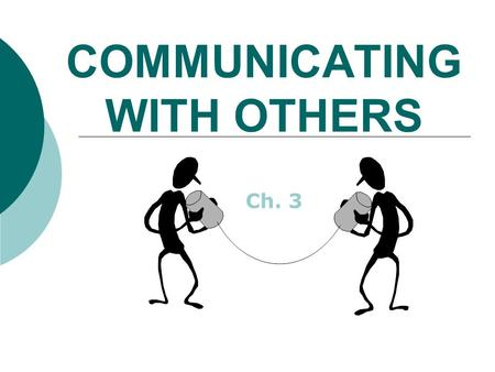 COMMUNICATING WITH OTHERS Ch. 3. What is communication?  The act in which one person sends a message to another person and receives a response.  2 people.