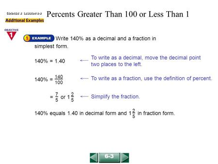 Write 140% as a decimal and a fraction in simplest form. COURSE 2 LESSON 6-3 To write as a decimal, move the decimal point two places to the left. 140%