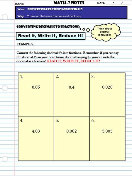 Converting Decimals to Fractions: Read it, Write it, Reduce it! Math-7 NOTES DATE: ______/_______/_______ What: Converting Fractions and decimals Why: