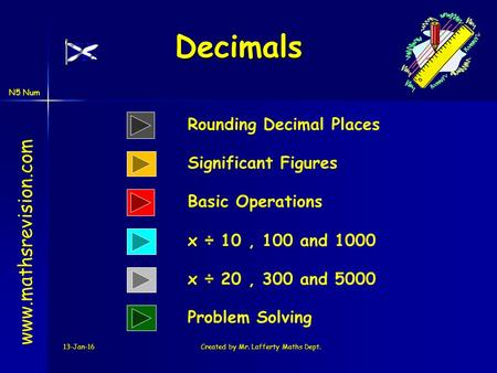 N5 Num 13-Jan-16Created by Mr. Lafferty Maths Dept. Decimals www.mathsrevision.com Rounding Decimal Places Significant Figures x ÷ 10, 100 and 1000 Basic.