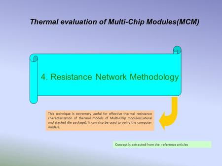 Thermal evaluation of Multi-Chip Modules(MCM) 4. Resistance Network Methodology This technique is extremely useful for effective thermal resistance characterization.