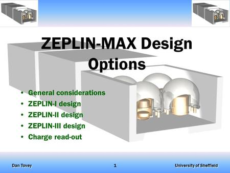 University of Sheffield Dan Tovey 1 ZEPLIN-MAX Design Options General considerations ZEPLIN-I design ZEPLIN-II design ZEPLIN-III design Charge read-out.