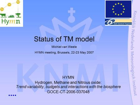 HYMN Hydrogen, Methane and Nitrous oxide: Trend variability, budgets and interactions with the biosphere GOCE-CT-2006-037048 Status of TM model Michiel.