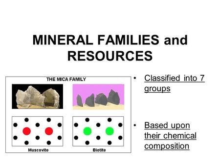 MINERAL FAMILIES and RESOURCES Classified into 7 groups Based upon their chemical composition.