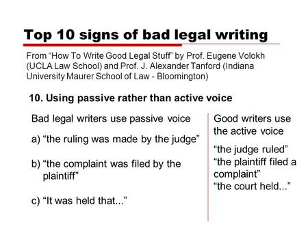 Top 10 signs of bad legal writing