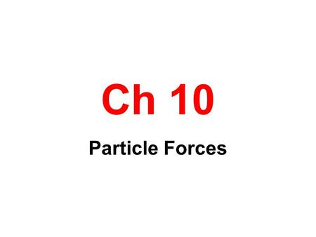 Ch 10 Particle Forces. States of Matter Solid- Particles moving about a fixed point Liquid-Particles moving about a moving point Gas-Particles filling.