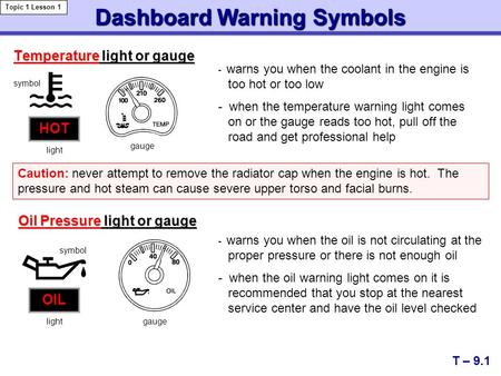 Dashboard Warning Symbols T – 9.1 Topic 1 Lesson 1 Temperature light or gauge - warns you when the coolant in the engine is too hot or too low - when the.