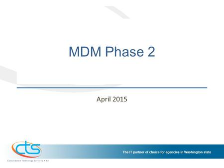 MDM Phase 2 April 2015. Background We last met with Customer Advisory Council in December 2014 Offered opportunity for customer agencies to participate.