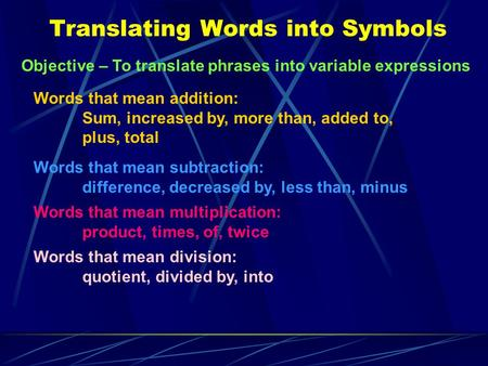 Translating Words into Symbols Objective – To translate phrases into variable expressions Words that mean addition: Sum, increased by, more than, added.