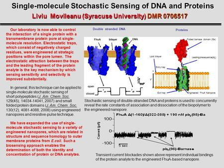 Single-molecule Stochastic Sensing of DNA and Proteins Liviu Movileanu (Syracuse University) DMR 0706517 Our laboratory is now able to control the interaction.