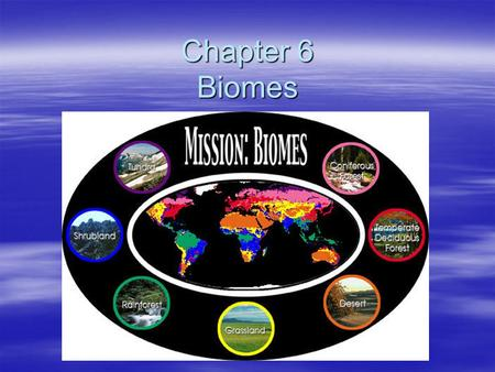 Chapter 6 Biomes. Section 1 What is a Biome? Biome  A biome is a large region characterized by a specific type of climate and certain types of plants.