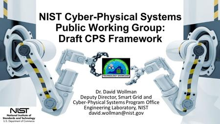 NIST Cyber-Physical Systems Public Working Group: Draft CPS Framework Dr. David Wollman Deputy Director, Smart Grid and Cyber-Physical Systems Program.