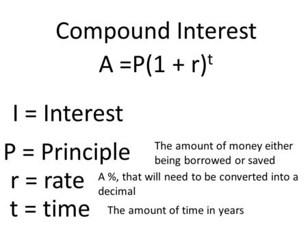 The amount of money either being borrowed or saved A %, that will need to be converted into a decimal The amount of time in years Compound Interest A =P(1.
