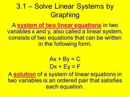 3.1 – Solve Linear Systems by Graphing A system of two linear equations in two variables x and y, also called a linear system, consists of two equations.