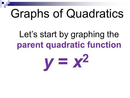 Graphs of Quadratics Let's start by graphing the parent quadratic function y = x 2.