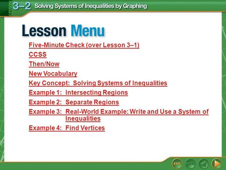 Lesson Menu Five-Minute Check (over Lesson 3–1) CCSS Then/Now New Vocabulary Key Concept: Solving Systems of Inequalities Example 1: Intersecting Regions.