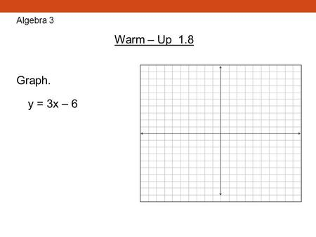 Algebra 3 Warm – Up 1.8 Graph. y = 3x – 6.