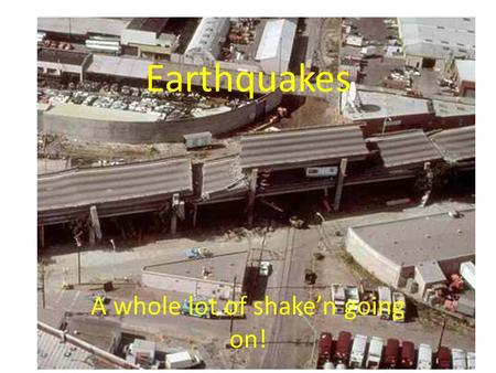 Earthquakes A whole lot of shake'n going on!. Earthquake terms: EARTHQUAKE-Vibration of the Earth caused by the rapid release of energy in the crust.