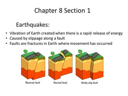Chapter 8 Section 1 Earthquakes: Vibration of Earth created when there is a rapid release of energy Caused by slippage along a fault Faults are fractures.