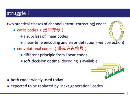 Struggle ! two practical classes of channel (error- correcting) codes cyclic codes (巡回符号) a subclass of linear codes linear-time encoding and error detection.
