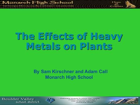 The Effects of Heavy Metals on Plants By Sam Kirschner and Adam Call Monarch High School.