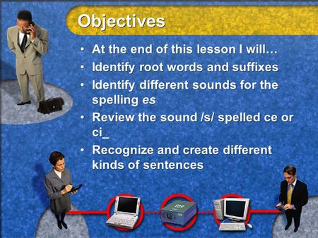 Objectives At the end of this lesson I will… Identify root words and suffixes Identify different sounds for the spelling es Review the sound /s/ spelled.