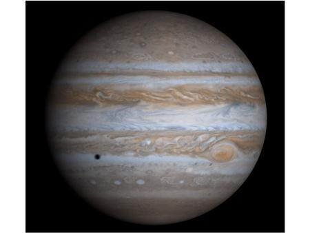 Atmosphere: Jupiter's atmosphere has two basic features. 1) Changing parallel bands aligned with the equator, and 2) the Great Red Spot.