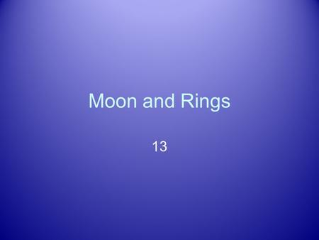 Moon and Rings 13. Astronomy Picture of the Day Moons of Jovian Planets Jupiter alone has over 60 We will focus on large: Diameter > 2,500 km Why study.