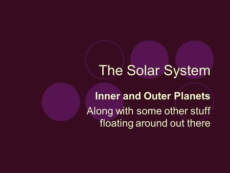 The Solar System Inner and Outer Planets Along with some other stuff floating around out there.