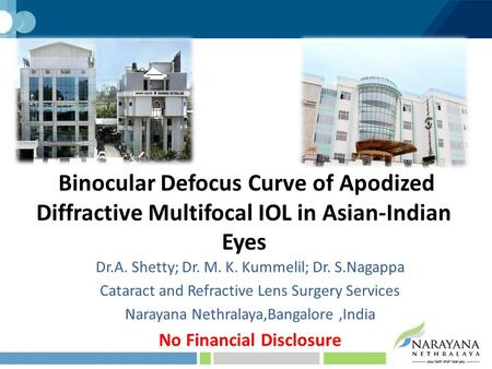 Binocular Defocus Curve of Apodized Diffractive Multifocal IOL in Asian-Indian Eyes Dr.A. Shetty; Dr. M. K. Kummelil; Dr. S.Nagappa Cataract and Refractive.