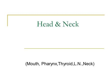 Head & Neck (Mouth, Pharynx,Thyroid,L.N.,Neck). Mouth & Pharynx anatomy.
