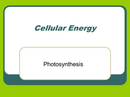 Cellular Energy Photosynthesis. Energy in Living Systems All organisms need energy to survive The sun is the first and largest source of energy Autotrophs.