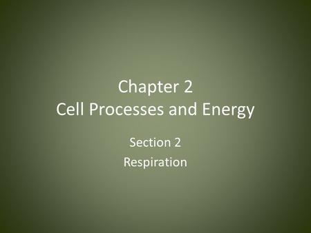 Chapter 2 Cell Processes and Energy Section 2 Respiration.