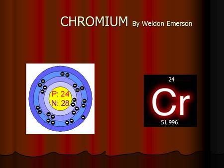 CHROMIUM By Weldon Emerson 24 51.996. Properties and uses of Chromium The melting point is 1857° Celsius The melting point is 1857° Celsius The boiling.