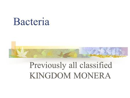 Previously all classified KINGDOM MONERA
