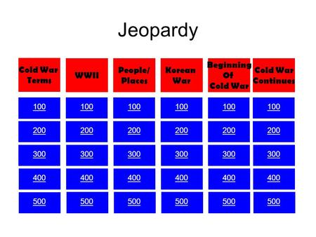 Jeopardy 100 200 300 400 500 100 200 300 400 500 100 200 300 400 500 100 200 300 400 500 100 200 300 400 500 100 200 300 400 500 Cold War Terms WWII People/