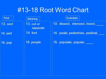 #13-18 Root Word Chart 13. sect 14. ped 15. pop 13. cut or separate 14. foot 15. people Root Meaning 13.dissect, intersect, insect, ____ 14.pedal, pedestrian,