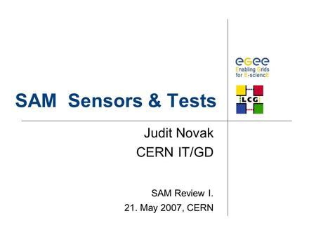 SAM Sensors & Tests Judit Novak CERN IT/GD SAM Review I. 21. May 2007, CERN.