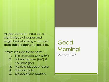 Good Morning! Monday, 12/7 As you come in: Take out a blank piece of paper and begin brainstorming what your data table is going to look like. It must.