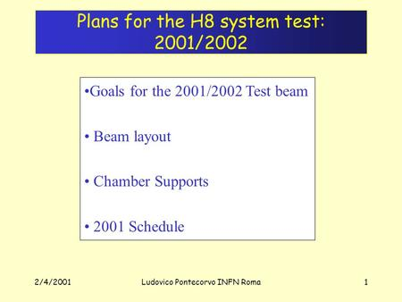 2/4/2001Ludovico Pontecorvo INFN Roma1 Plans for the H8 system test: 2001/2002 Goals for the 2001/2002 Test beam Beam layout Chamber Supports 2001 Schedule.