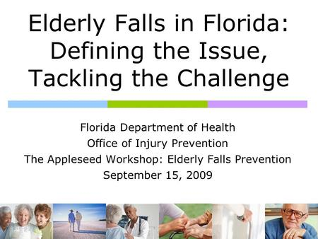 Elderly Falls in Florida: Defining the Issue, Tackling the Challenge Florida Department of Health Office of Injury Prevention The Appleseed Workshop: Elderly.