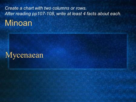Mycenaean Minoan Create a chart with two columns or rows. After reading pp107-108, write at least 4 facts about each.