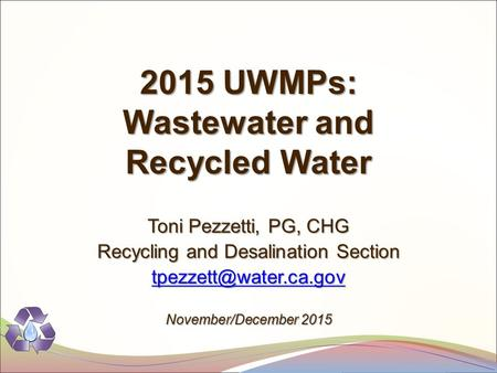 Recycling and Desalination Section