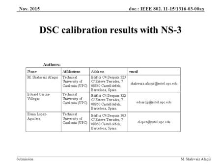 Doc.: IEEE 802. 11-15/1316-03-00ax Submission M. Shahwaiz Afaqui DSC calibration results with NS-3 Authors: Nov. 2015.