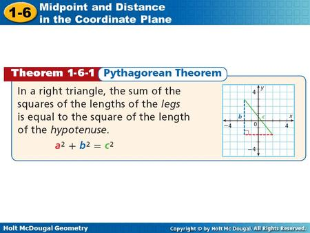 Warm Up C. Warm Up C Objectives Use the Distance Formula and the Pythagorean Theorem to find the distance between two points.